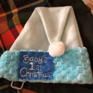 Baby's first Christmas Blue Santa hat